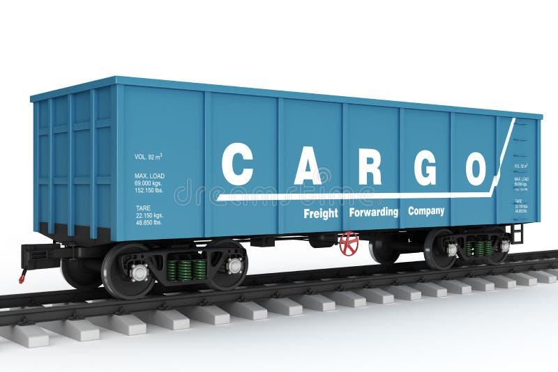 Blue rail wagon. Isolated. On white background vector illustration