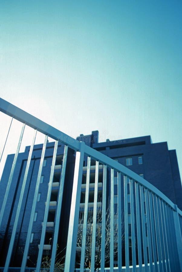 Blue railing stock photo