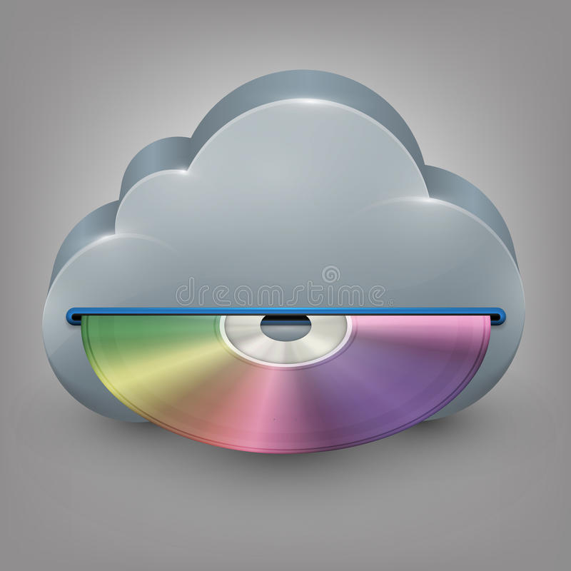 Blue-ray, DVD or CD disc with cloud. Vector illustration in eps10 royalty free illustration