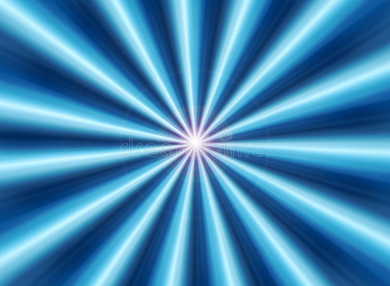 Blue rays. Rays of soft blue light eminating from the centre forming a symmetrical abstract composition stock photography