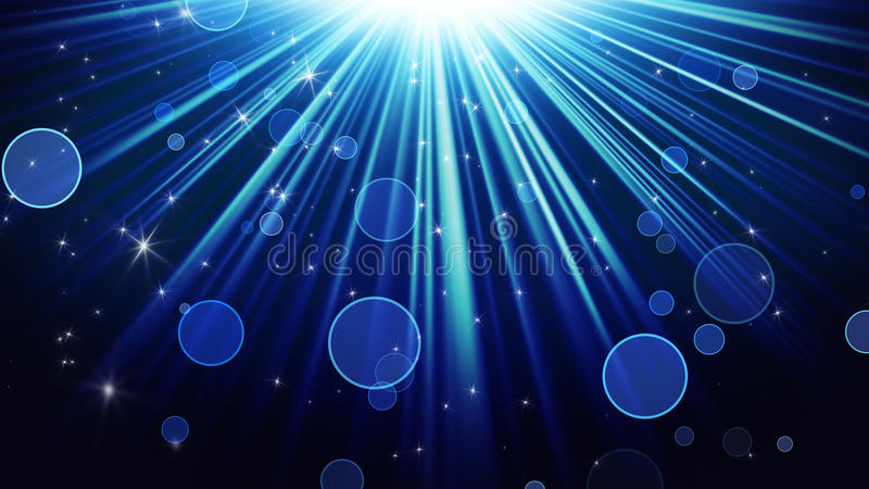 Blue rays of light and shining stars abstract background. Blue rays of light and shining stars. computer generated abstract background royalty free illustration