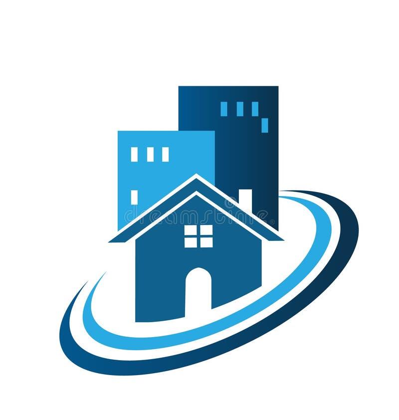 Blue real estate house logo royalty free illustration