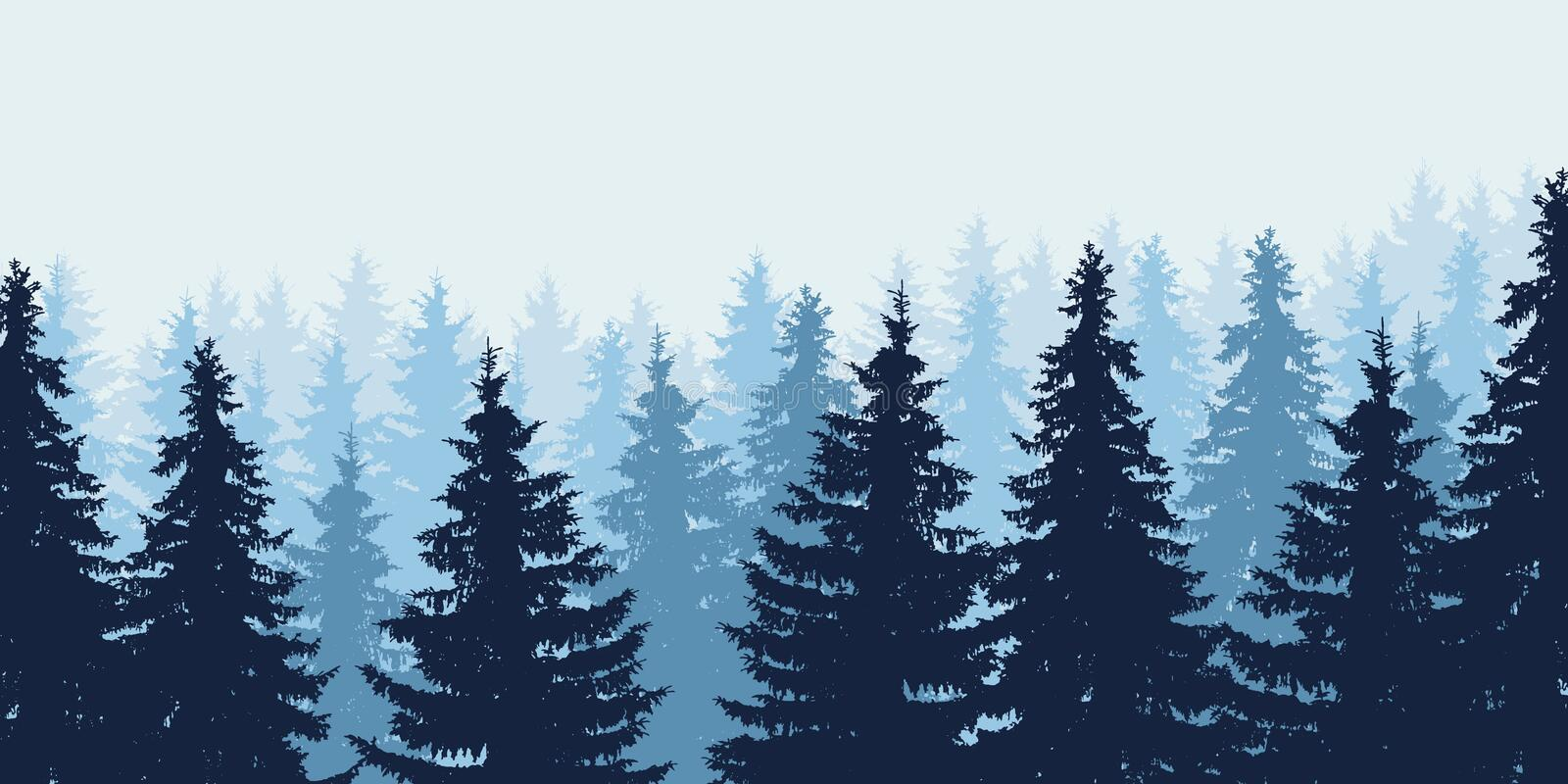 Blue realistic vector illustration of forest in winter royalty free illustration