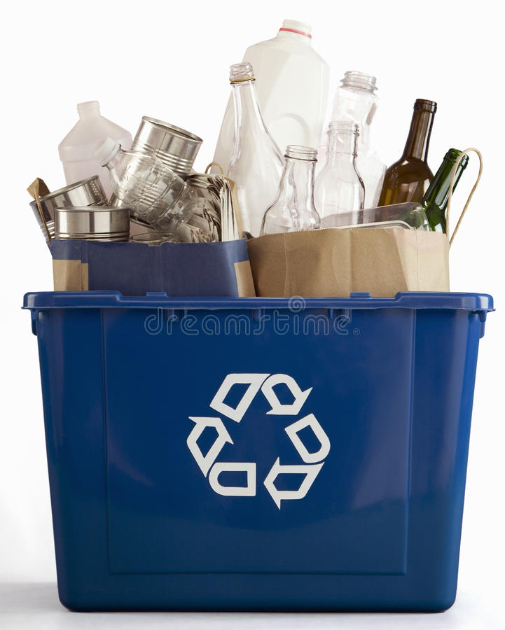 Blue Recycle Bin royalty free stock photo