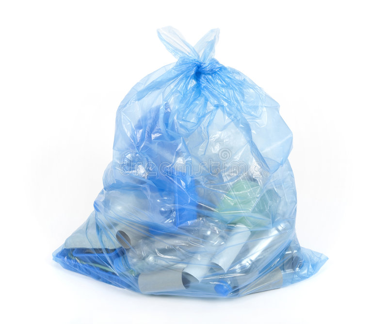 Blue recycling bag stock image