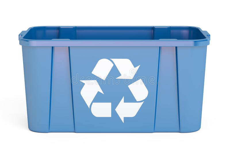 Blue recycling bin, 3D rendering. On white background stock illustration