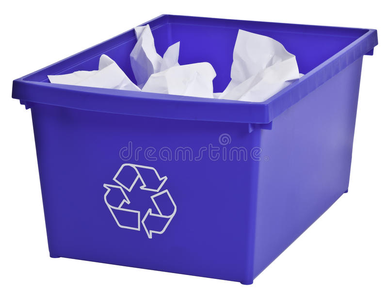 Blue recycling bin filled with whiter paper stock images