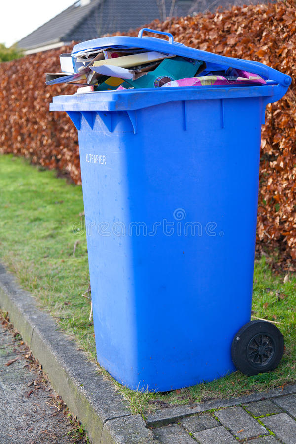 Blue recycling container royalty free stock image