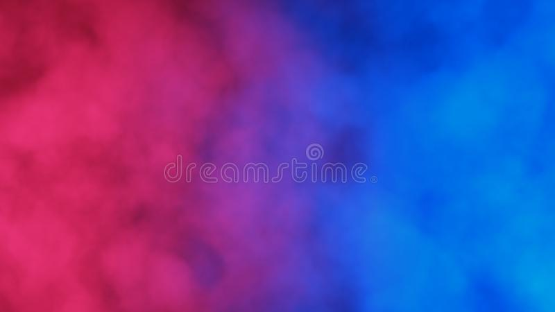 Blue and red abstract cloud of smoke pattern. On a black background. 3d render. Suitable for illustrating comparisons. Good for advertising mobile devices stock illustration