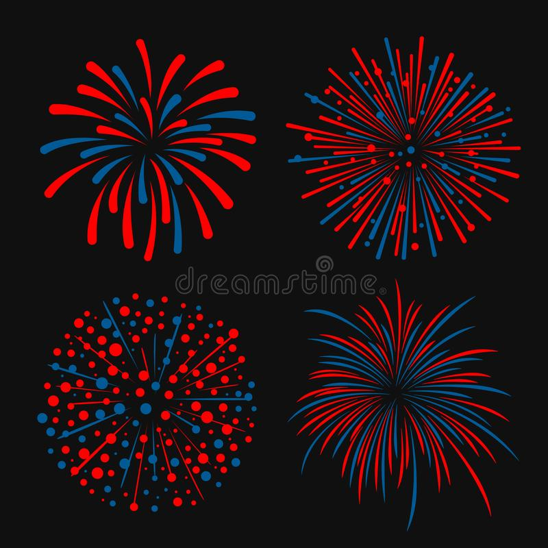 Blue and red abstract firework 4 style vector design vector illustration