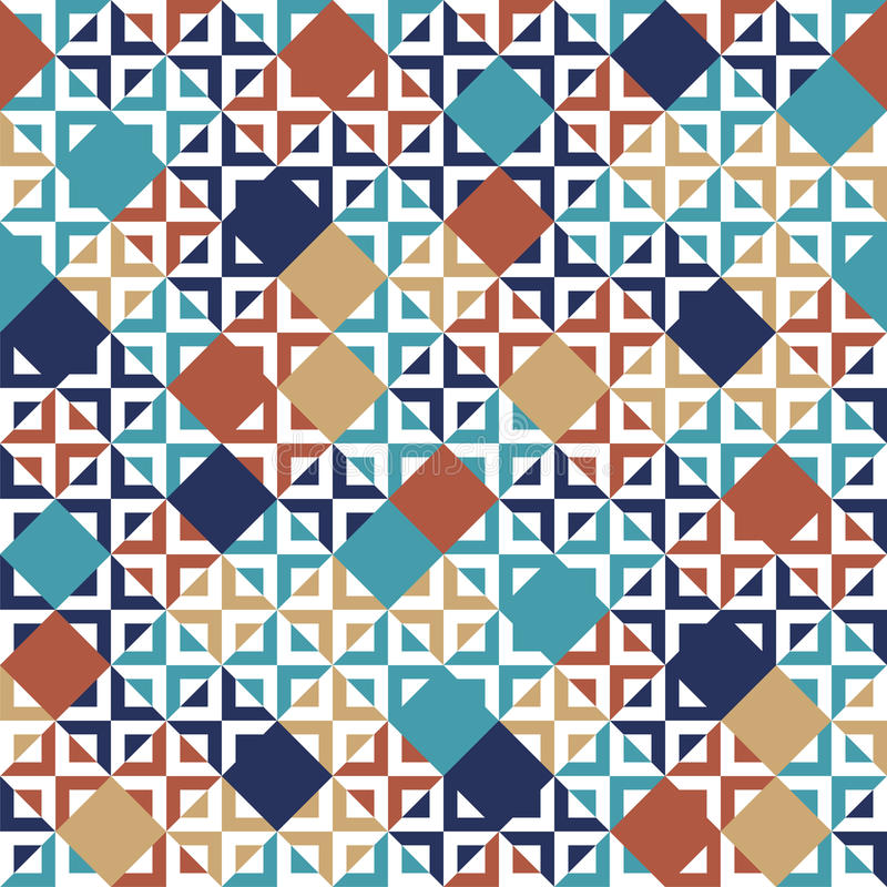 Blue red beige and white tiles geometric seamless pattern, vector royalty free illustration