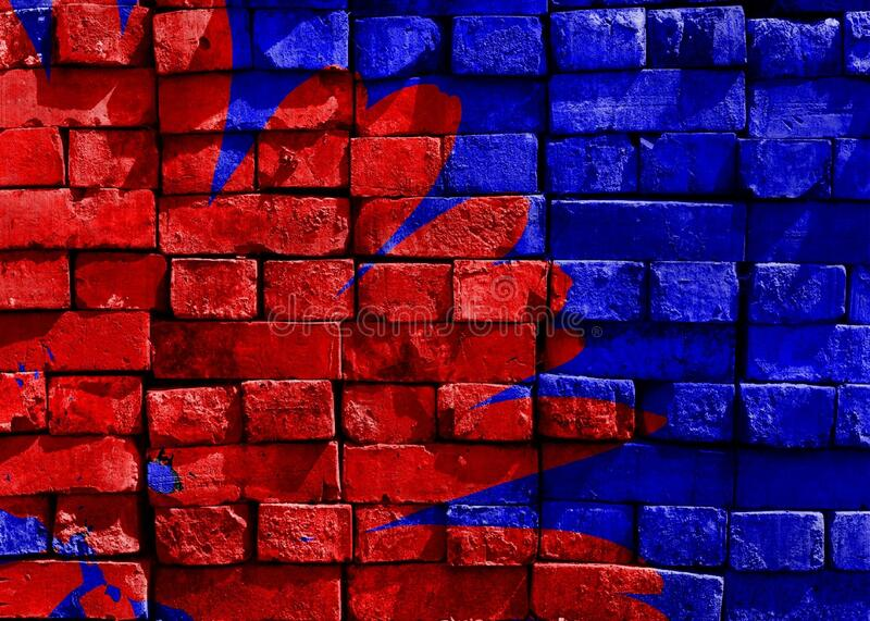 Blue and Red Brick Filled royalty free stock photography