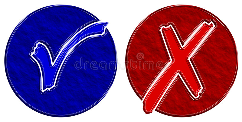 Blue and red check circles stock photos