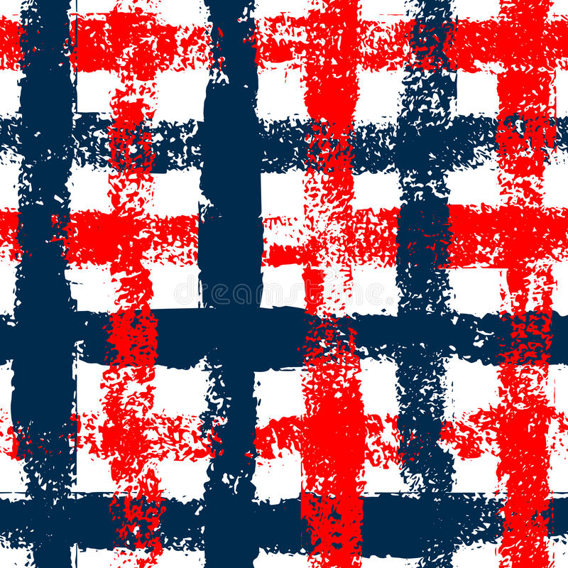 Blue and red checkered grunge gingham seamless pattern, vector. Background royalty free illustration