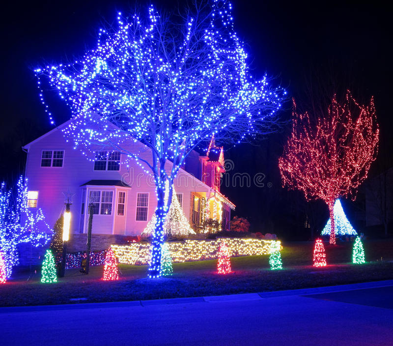 Decorated Homes: Blue And Red Christmas Royalty Free Stock Photos