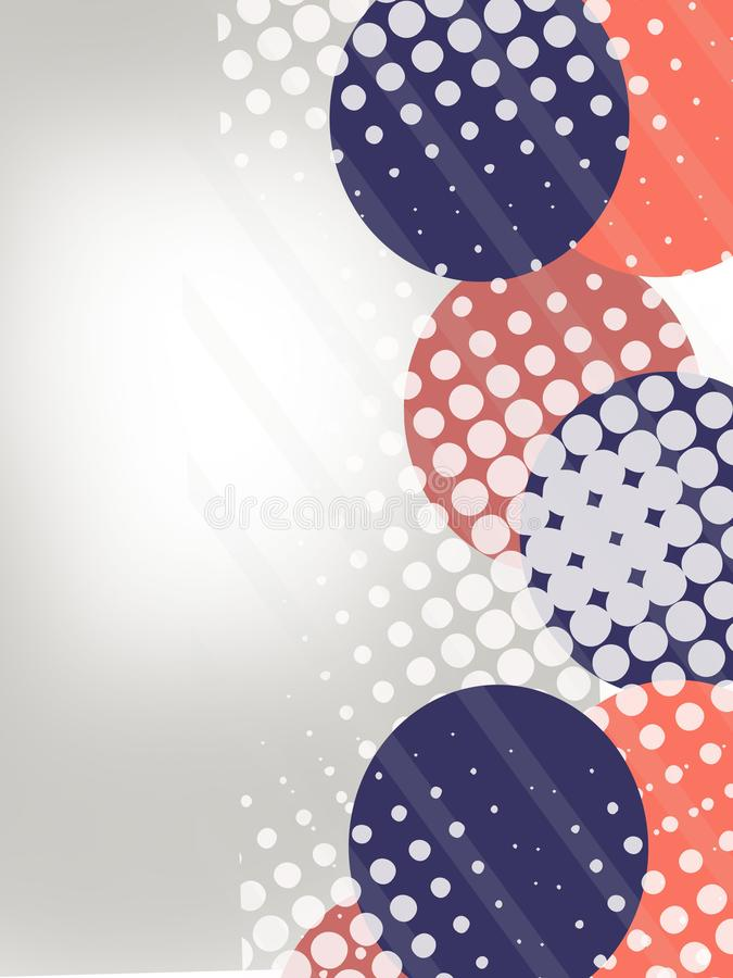 Blue and red circle overlap abstract background. Vertical creative background vector illustration