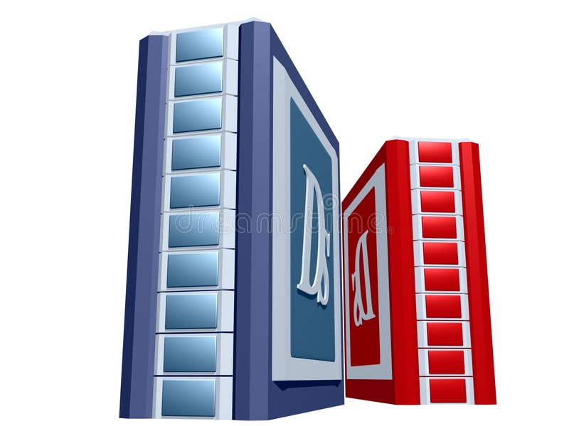 Blue and red Computer tower. For web design vector illustration