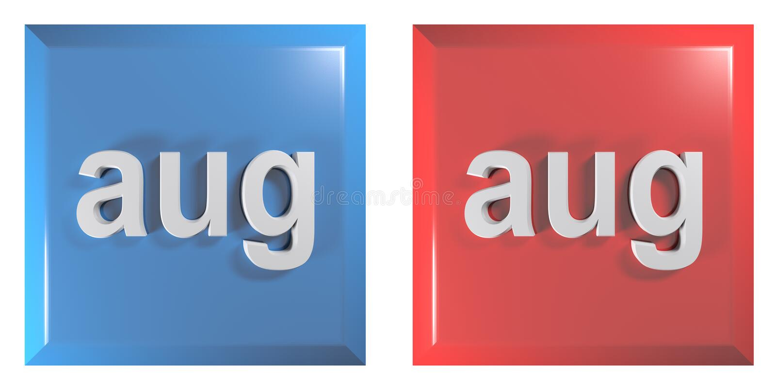 Blue and red couple of square push buttons AUGUST - 3D rendering illustration. A couple of square push buttons, blue and red, isolated on white background, with royalty free illustration