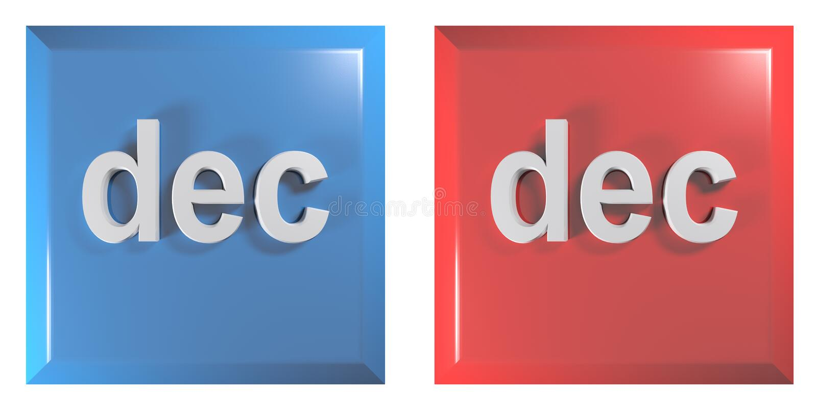 Blue and red couple of square push buttons DECEMBER - 3D rendering illustration. A couple of square push buttons, blue and red, isolated on white background royalty free illustration
