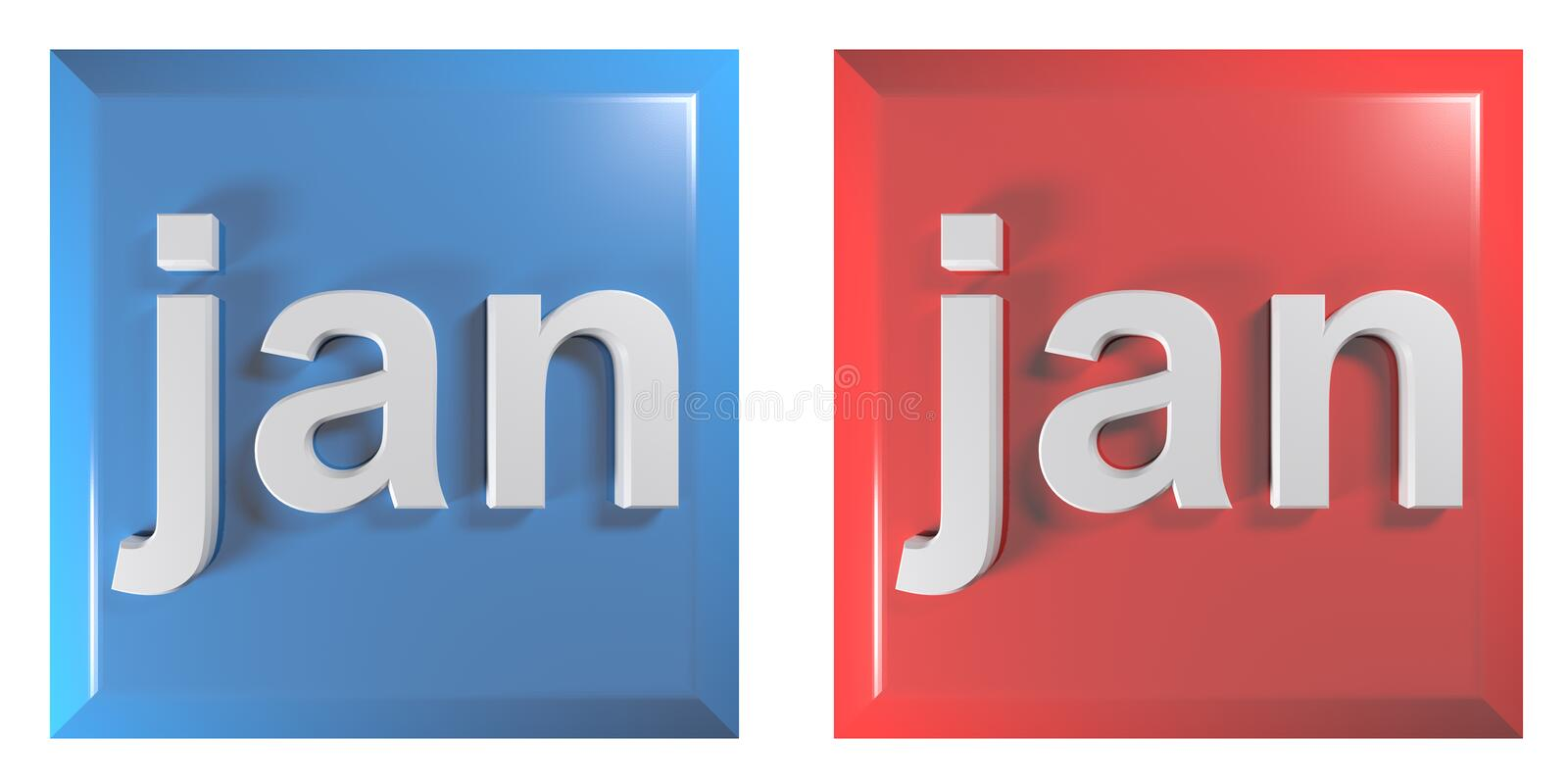 Blue and red couple of square push buttons JANUARY - 3D rendering illustration. A couple of square push buttons, blue and red, isolated on white background, with vector illustration