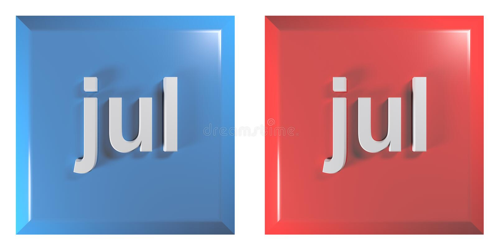 Blue and red couple of square push buttons JULY - 3D rendering illustration. A couple of square push buttons, blue and red, isolated on white background, with stock illustration