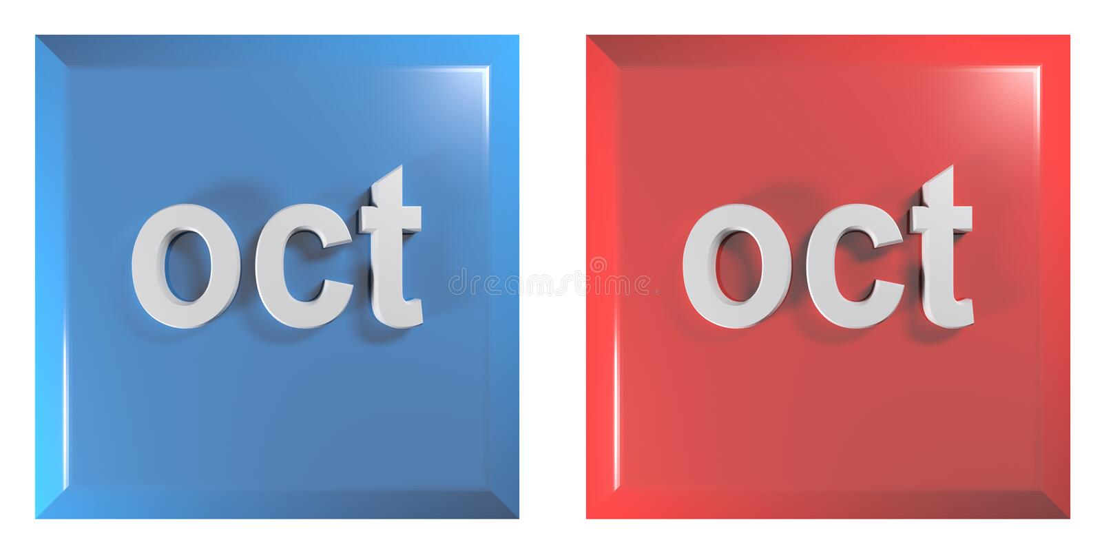 Blue and red couple of square push buttons OCTOBER - 3D rendering illustration. A couple of square push buttons, blue and red, isolated on white background, with stock illustration