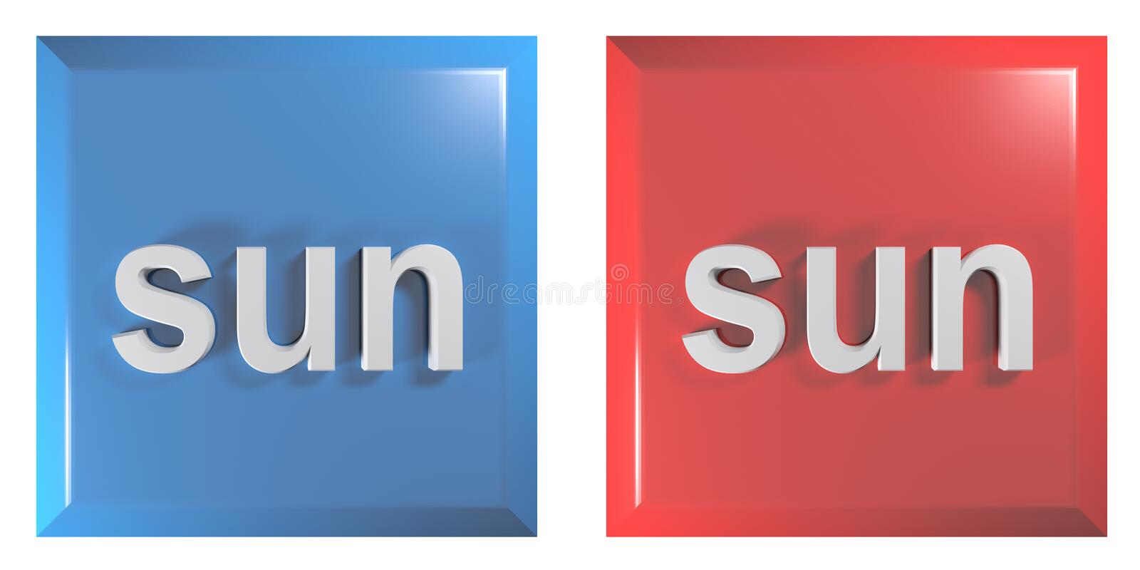 Blue and red couple of square push buttons SUNDAY - 3D rendering illustration. A couple of square push buttons, blue and red, isolated on white background, with stock illustration