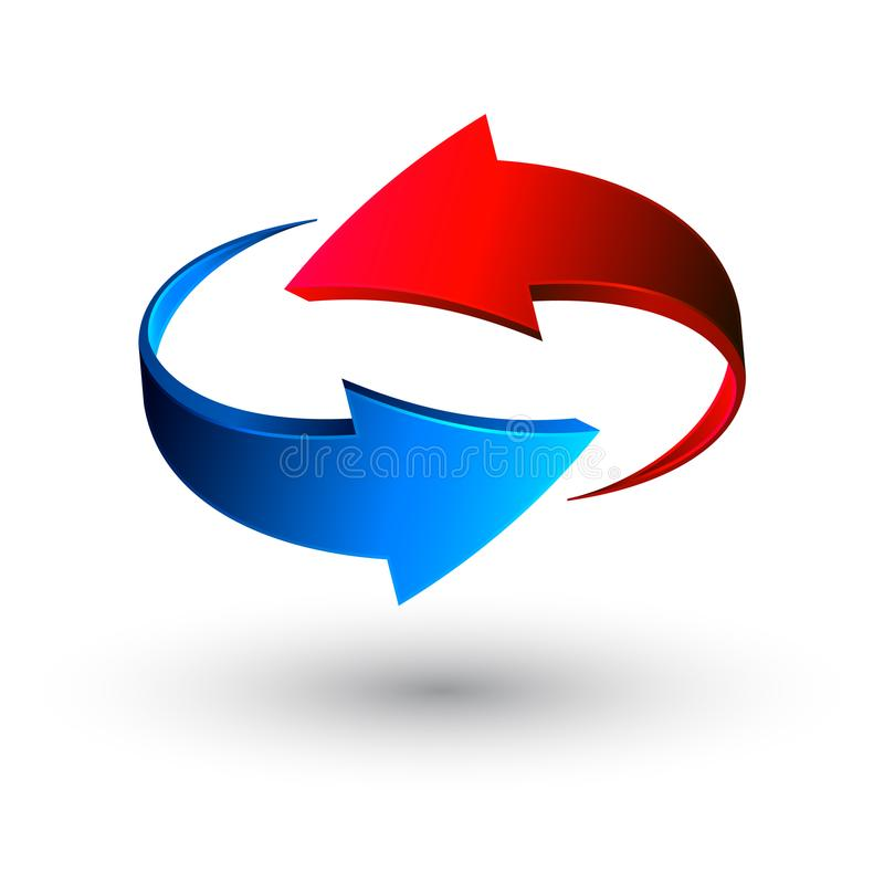 Blue and red 3d arrows, vector stock illustration