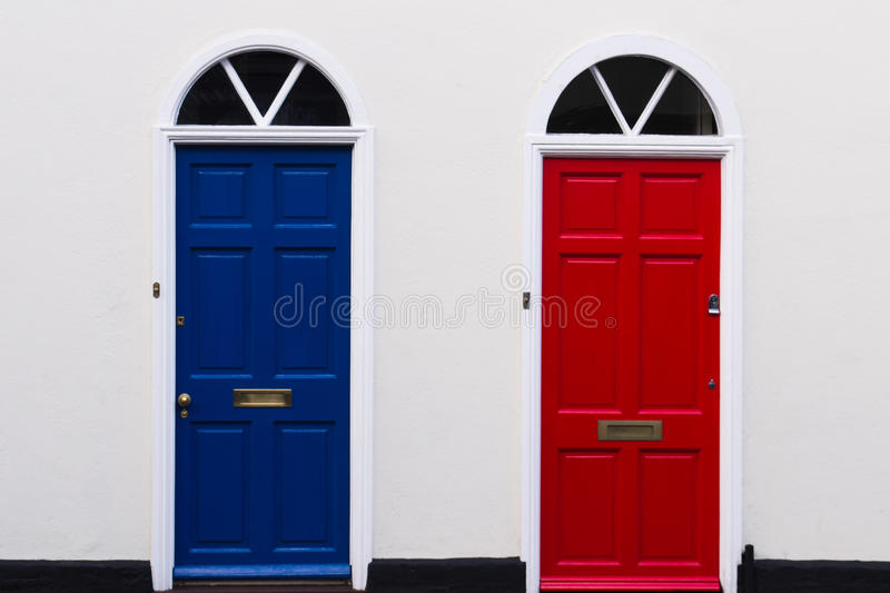 Blue and red doors. Color warminster royalty free stock image