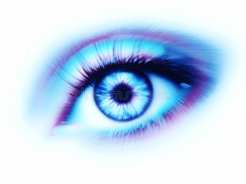 Blue red eye on white background royalty free stock photo