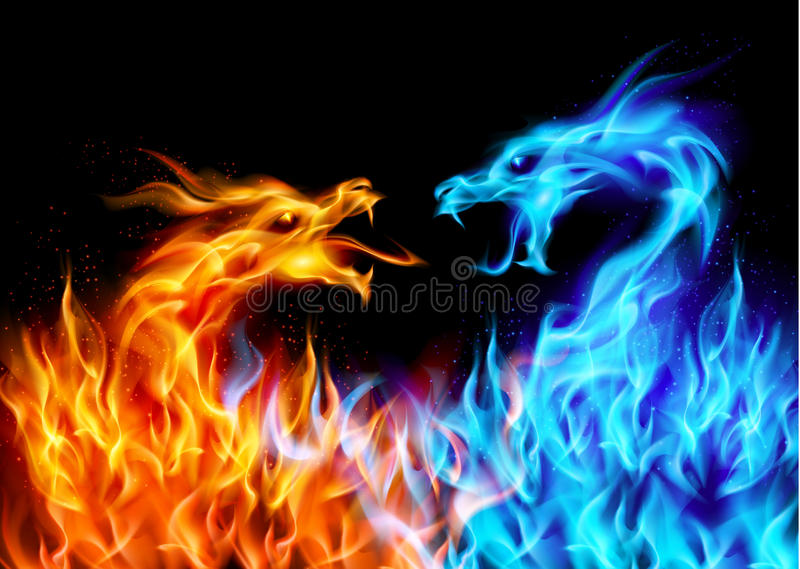 Abstract Blue And Red Fiery Dragons Illustration On Black Background For Design