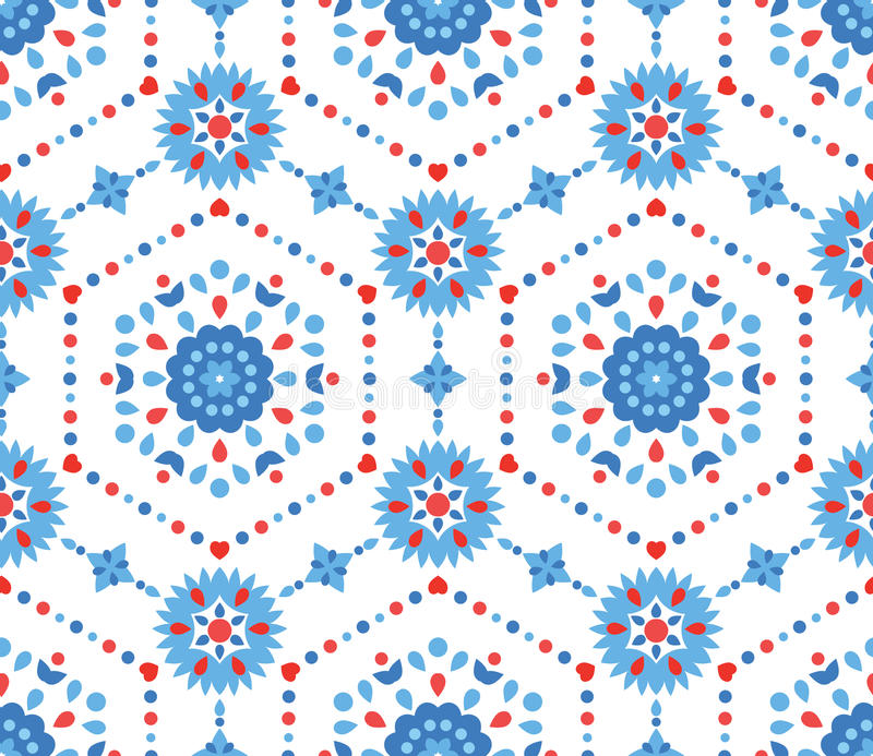 Blue and Red Floral Pattern with Cornflower stock illustration