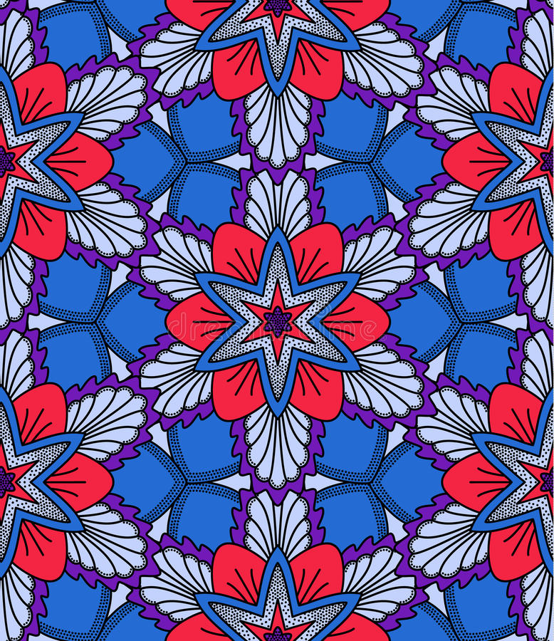 Blue and Red Flower Pattern stock illustration