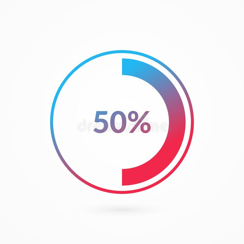 50% blue and red gradient pie chart sign. Percentage vector infographic symbol. Fifty percent circle diagram isolated. Illustration for business, download, web royalty free illustration