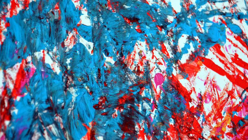 Blue red gray painting blurred abstract vivid background, texture and strokes of brush stock photo
