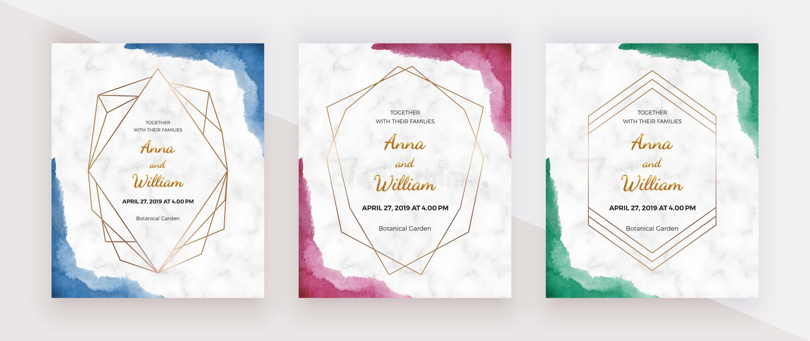 Blue, red and green brush stroke border watercolor texture with golden polygonal lines frames on the marble texture. Modern hand p. Ainting template for wedding stock illustration