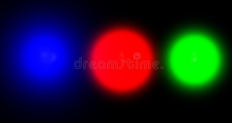 Blue red green neon glowing circles on black background. royalty free illustration