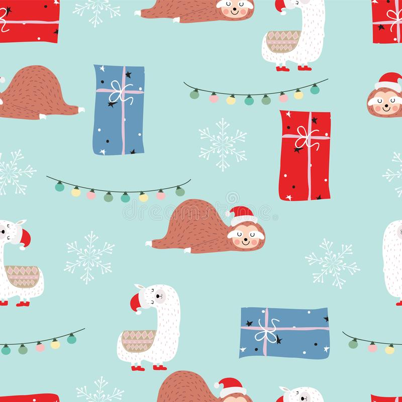Blue red hand drawn cute seamless pattern with sloth,llama,gift. Box,snowflake and light in Christmas vector illustration