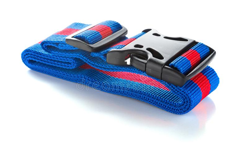 Blue and red harness with black buckles on white. Bckground royalty free stock photos