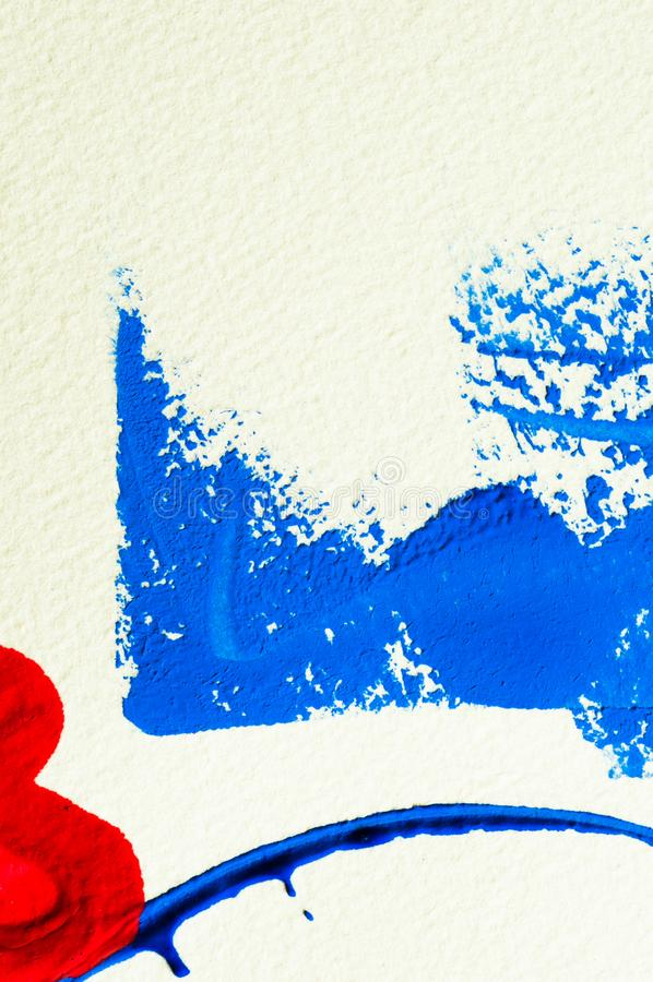 Blue and red heart gouache color, image detail. Apprehend abstract painting, printmaking, brilliant blue and red gouache watercolor on white, image detail stock photo