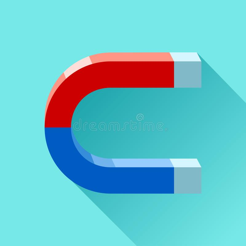 Blue and red horseshoe Magnet icon in flat style, simple tool on color background. Vector design element for you project royalty free illustration