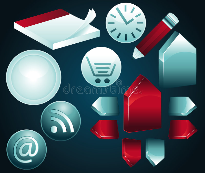 Blue and red icons part II royalty free illustration