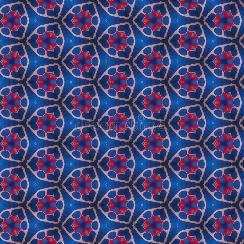 Blue Red Kaleidoscope Paper Pattern royalty free stock photography