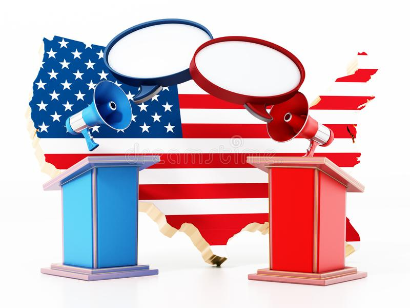 Blue and red lecterns with USA map. 3D illustration royalty free illustration