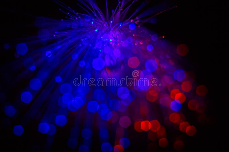 Blue and red lights; abstract bokeh background. Blue and red lights; abstract dark bokeh background stock photography