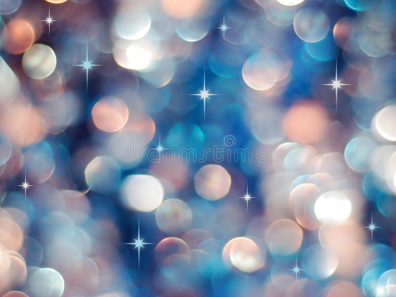 Blue and red lights background. Christmas blue and red lights background with little stars stock photography
