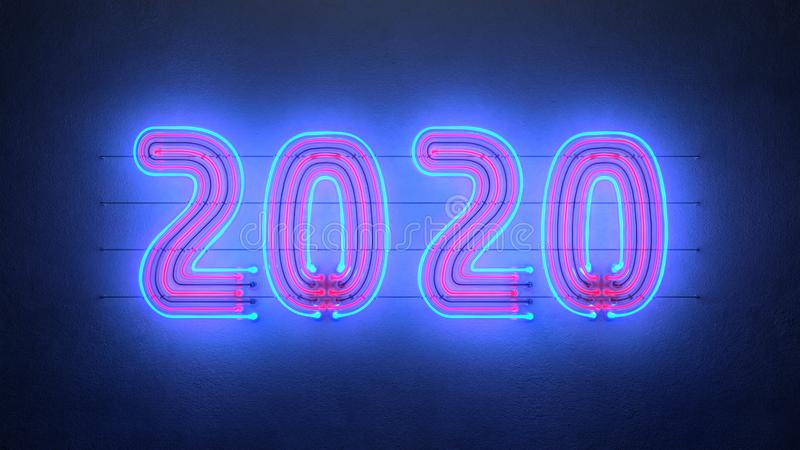 Blue and red neon sign 2020 on wall 3D rendering illustration vector illustration