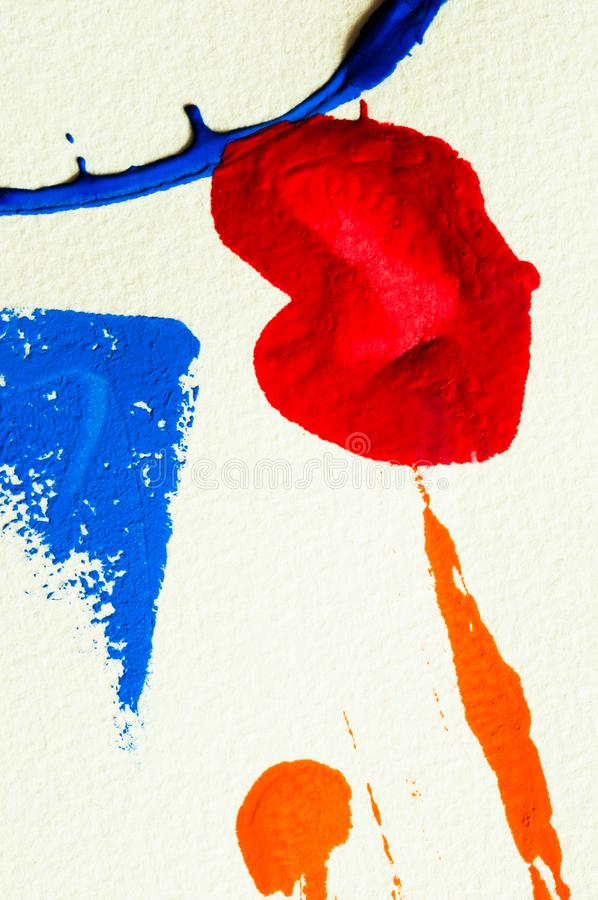 Blue, red and orange gouache color, image detail. Apprehend abstract painting, printmaking, brilliant blue, red and orange gouache watercolor on white, image stock photo