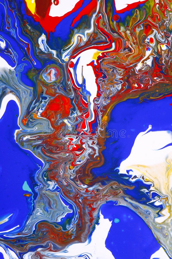 Blue and red paints abstract stock image