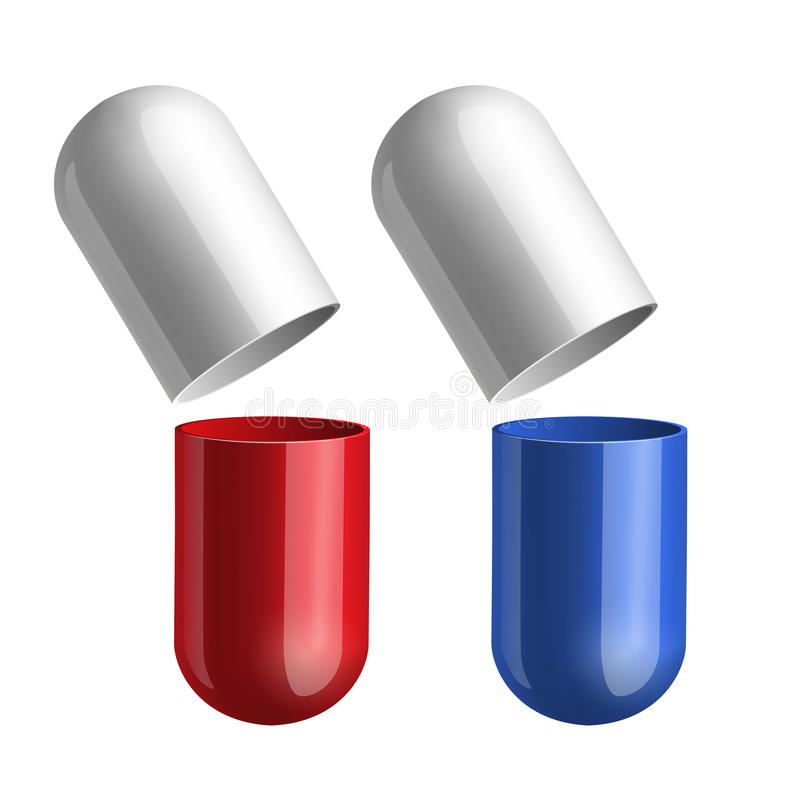 Blue and red pills royalty free illustration